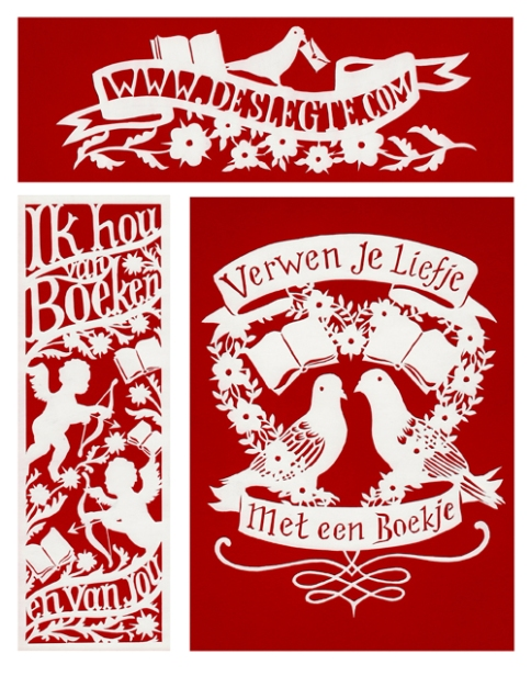 Paper-cut illustrations for bookshop De Slegte, Valentines Day 2013. The commission included designs for a bookmark, posters and banners, which were on display in 33 shops throughout the Netherlands and Belgium.